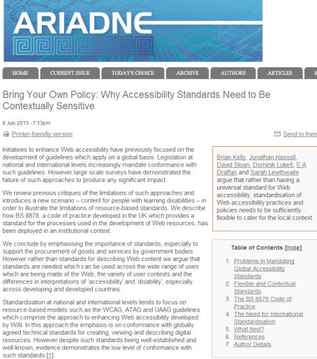 Screenshot of Kelly, Hassell, Sloan, Lukeš, Draffan, and Lewthwaite, (July 2013) 'Bring Your Own Policy: Why Accessibility Standards Need to be Contextually Aware' Ariadne Issue 71.