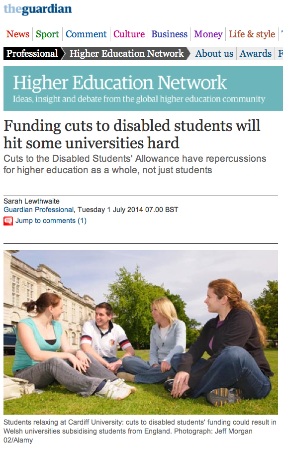 Image of Guardian article on institutional impact of cuts to DSAs